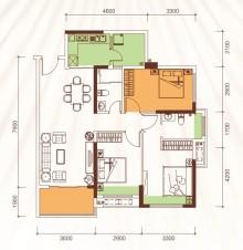 1、2、3号楼04户型97m²