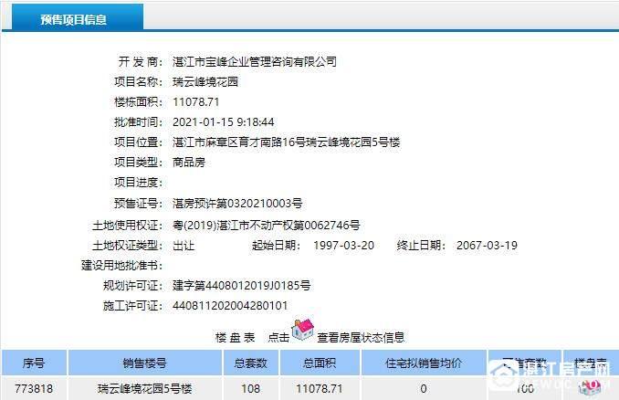 博达峰境预售证